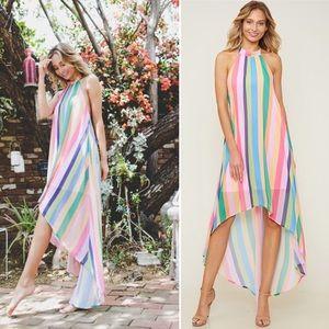 Rainbow color hi-Living halter dress